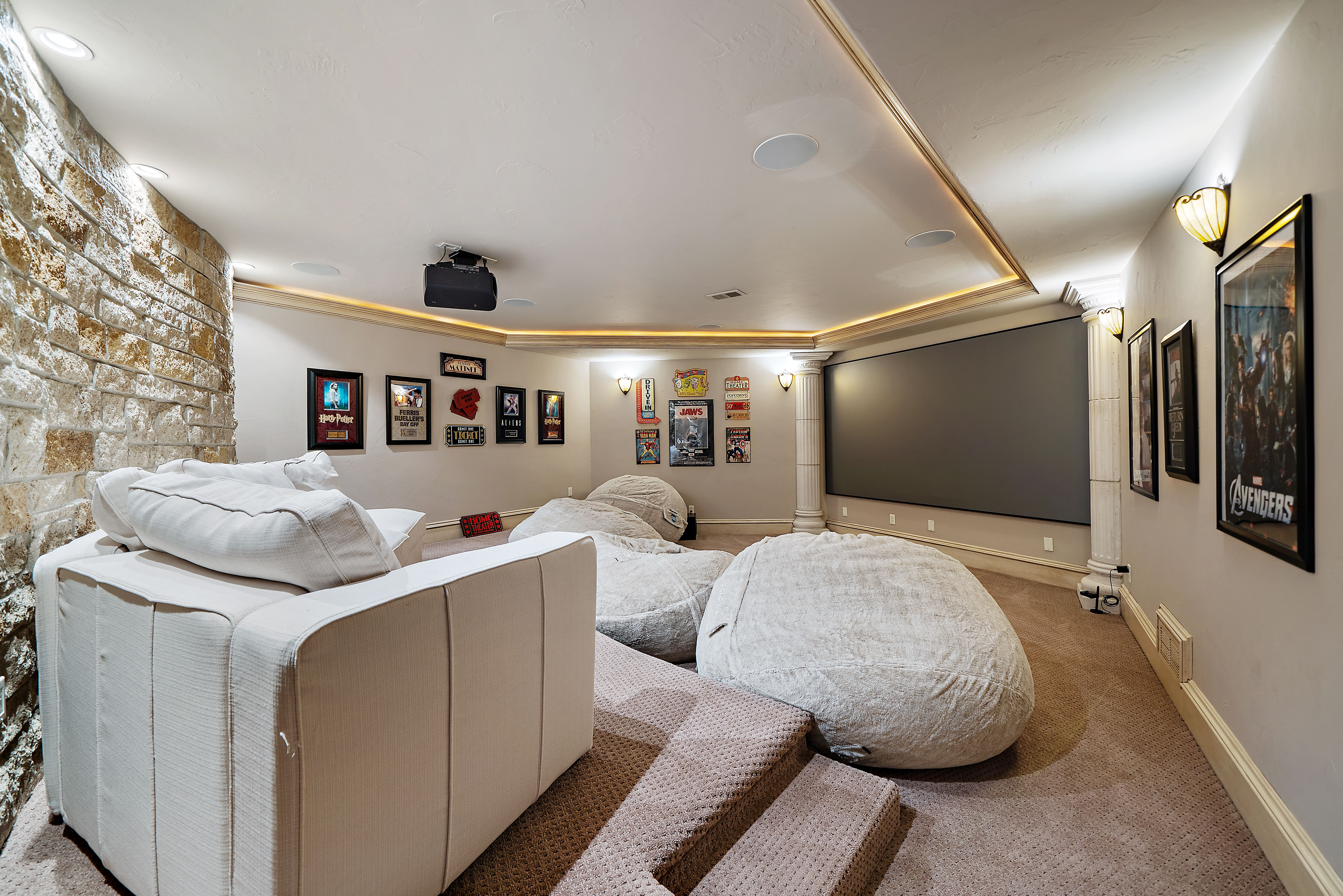 A view of the theater room.