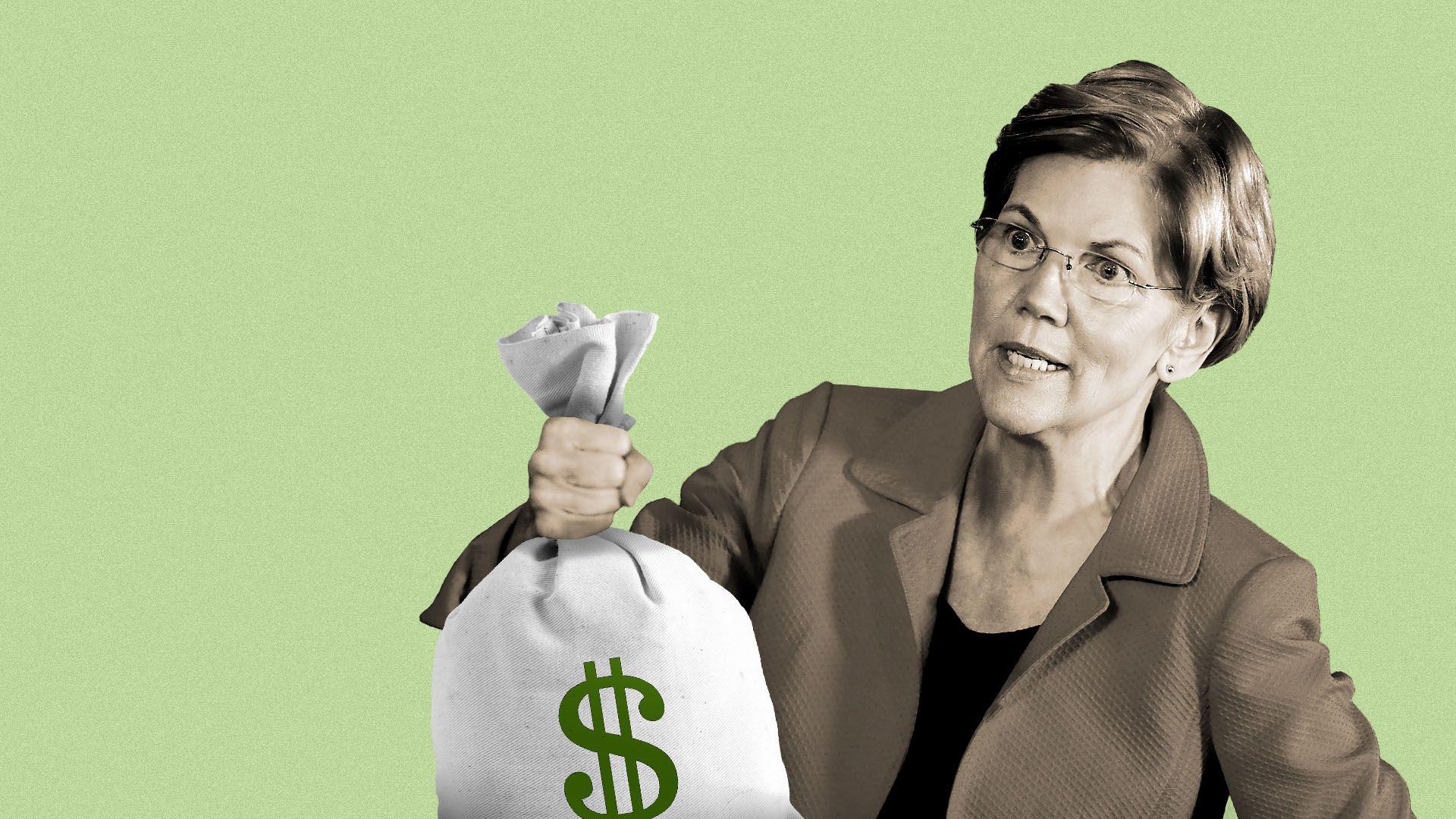 Illustration of Elizabeth Warren holding a bag of money.