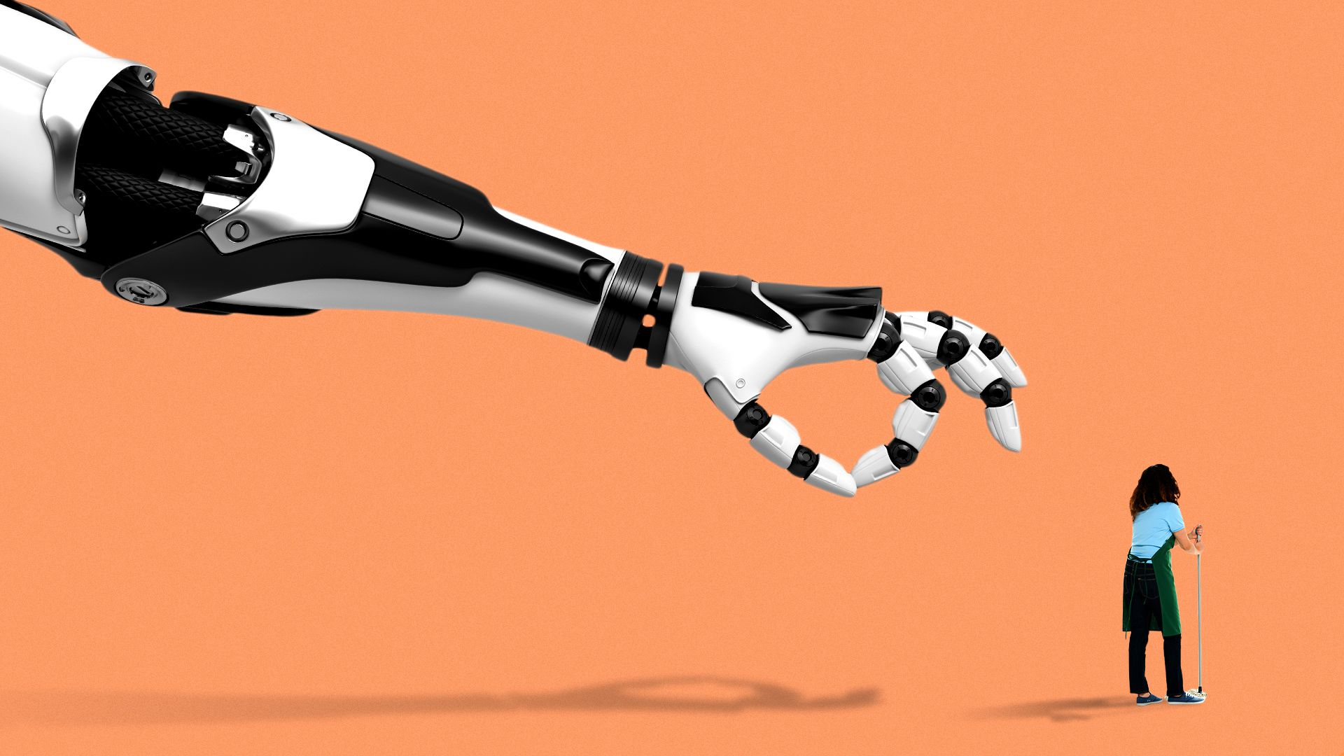 Illustration of a giant robot arm with it's hand getting ready to flick a retail/janitorial worker off screen