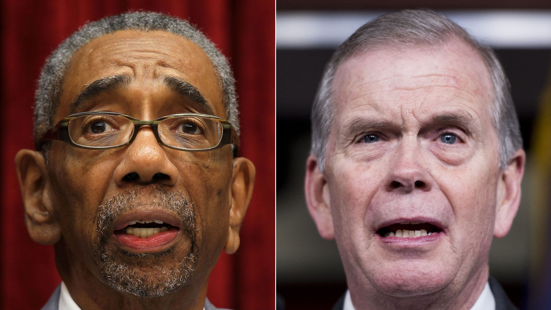 Side-by-side photos of Reps. Bobby Rush and Tim Walberg
