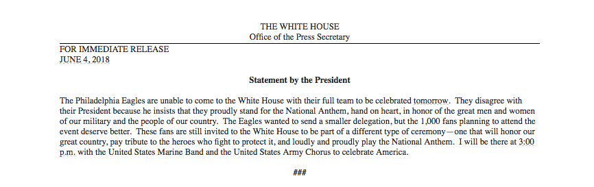 Full statement from the president