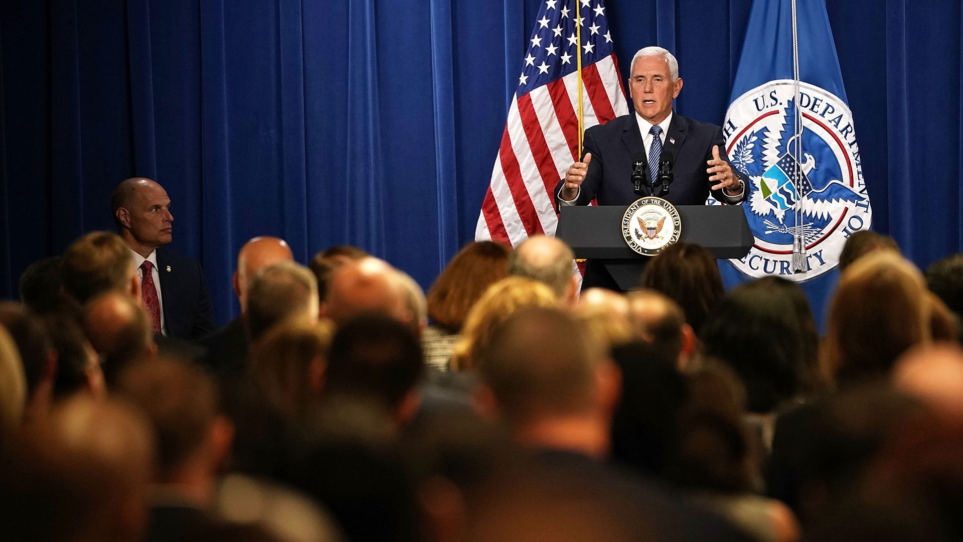 Vice President Pence speaking to a crowd at D.C.'s ICE headquarters.