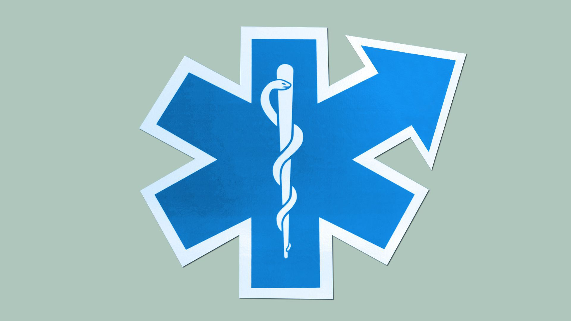 Illustration of an EMS symbol with one of the crossbars forming an upward arrow.
