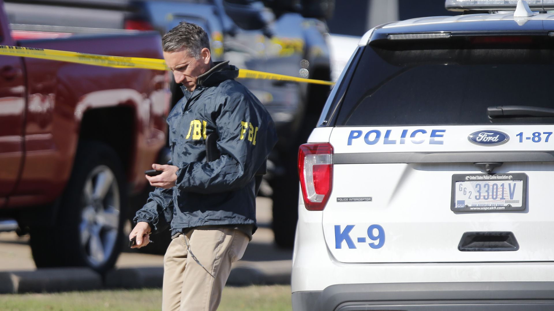 An FBI agent works the scene after a shooting took place during services at West Freeway Church of Christ on December 29, 2019 in White Settlement, Texas.