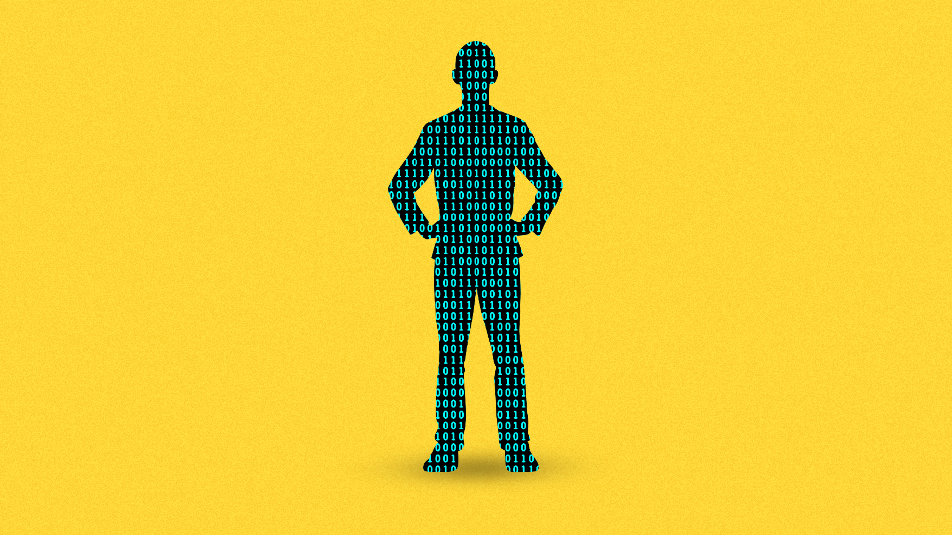 llustration of binary code as a human silhouette.