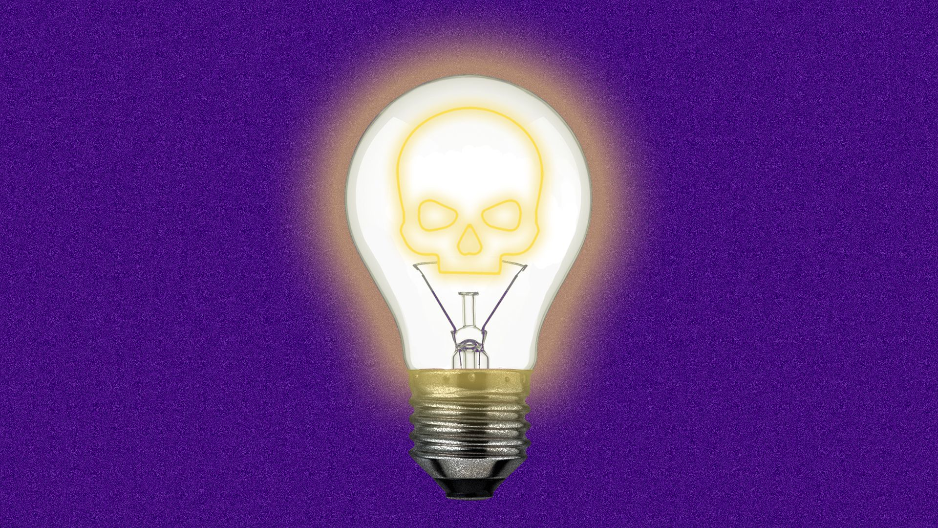 An illustration of a lightbulb whose filament is the outline of a skull.