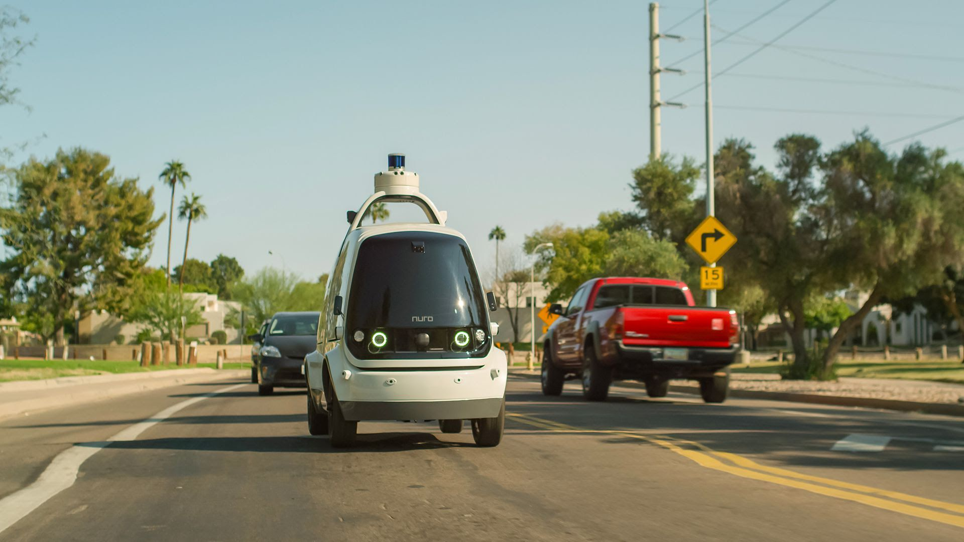 Nuro's unmanned delivery vehicles are half the width of a Toyota Camry and limited to 25 mph