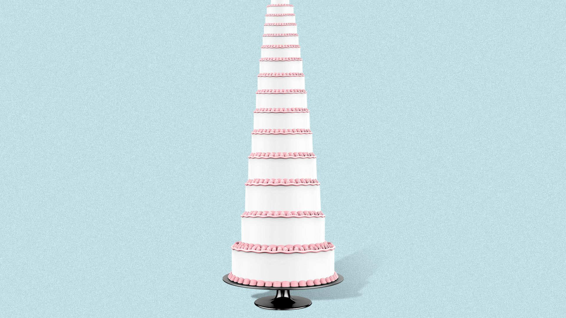 Illustration of a very tall wedding cake.