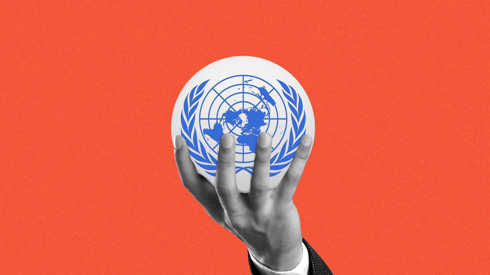 Illustration of a hand holding up a sphere with the United Nations logo