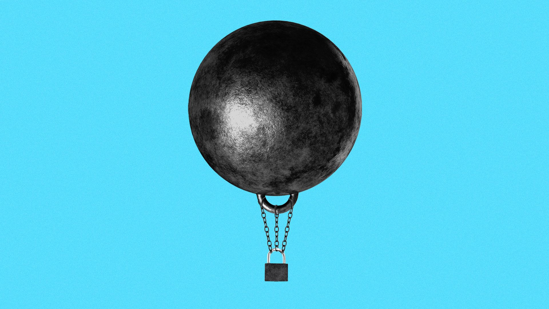 Illustration of a hot air balloon made out of a ball and chain and a padlock.