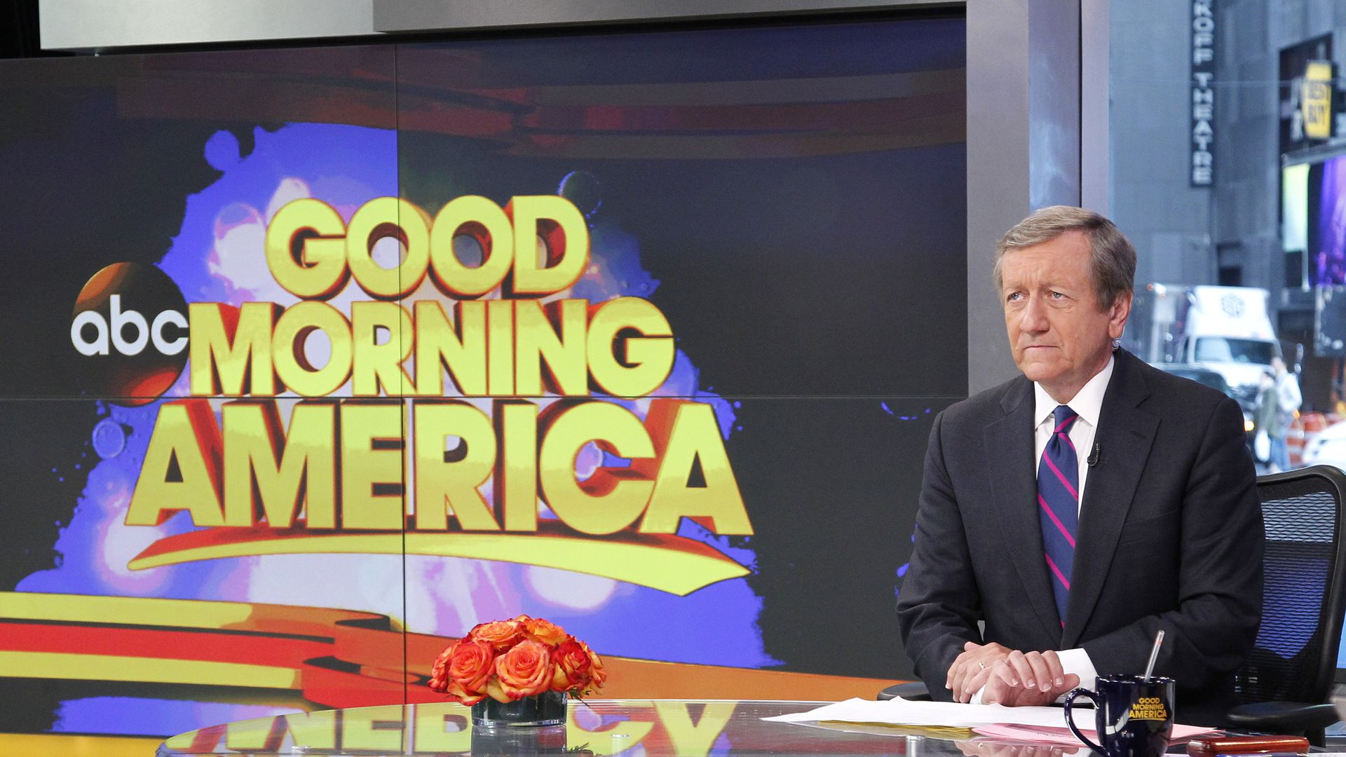 Brian Ross on the set of Good Morning America