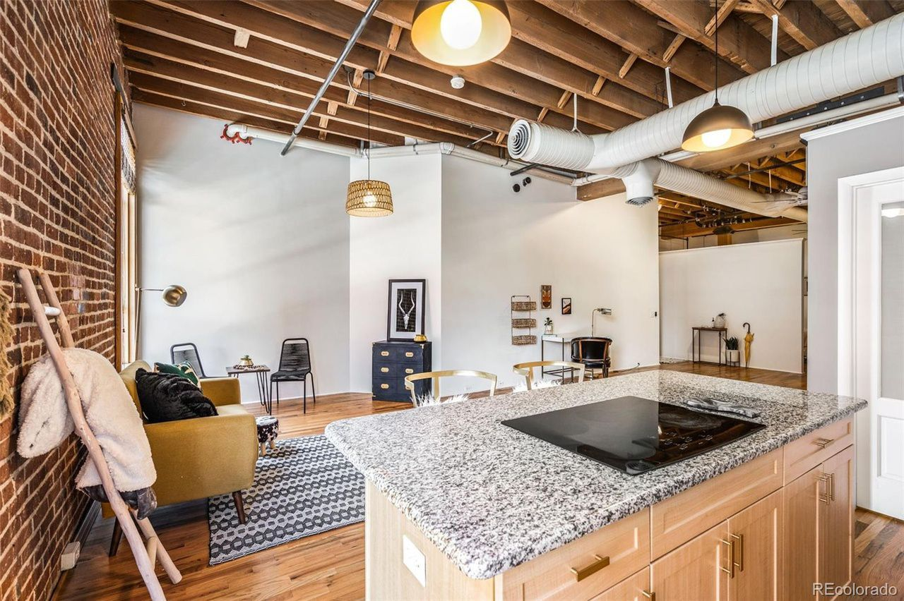 1143 Auraria Pkwy #204 interior exposed brick and living room