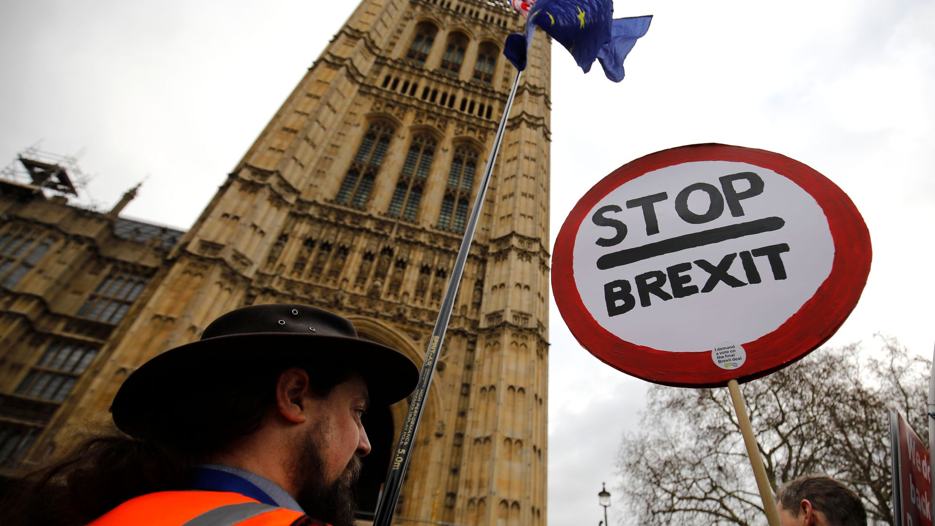 Man in London with a stop brexit sign