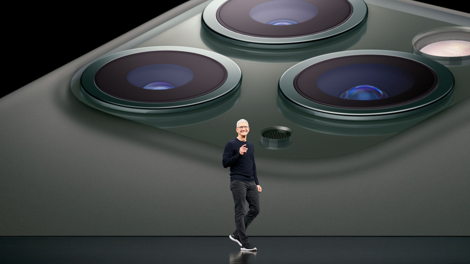 Apple CEO Tim Cook introduces the. iPhone 11 Pro on Tuesday.