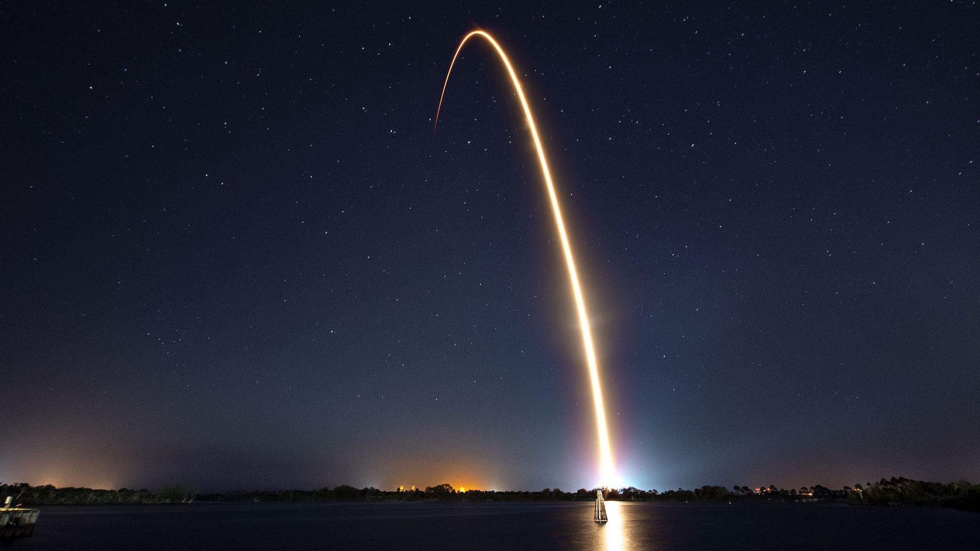 Light trail from SpaceX rocket launch out of Cape Canaveral.