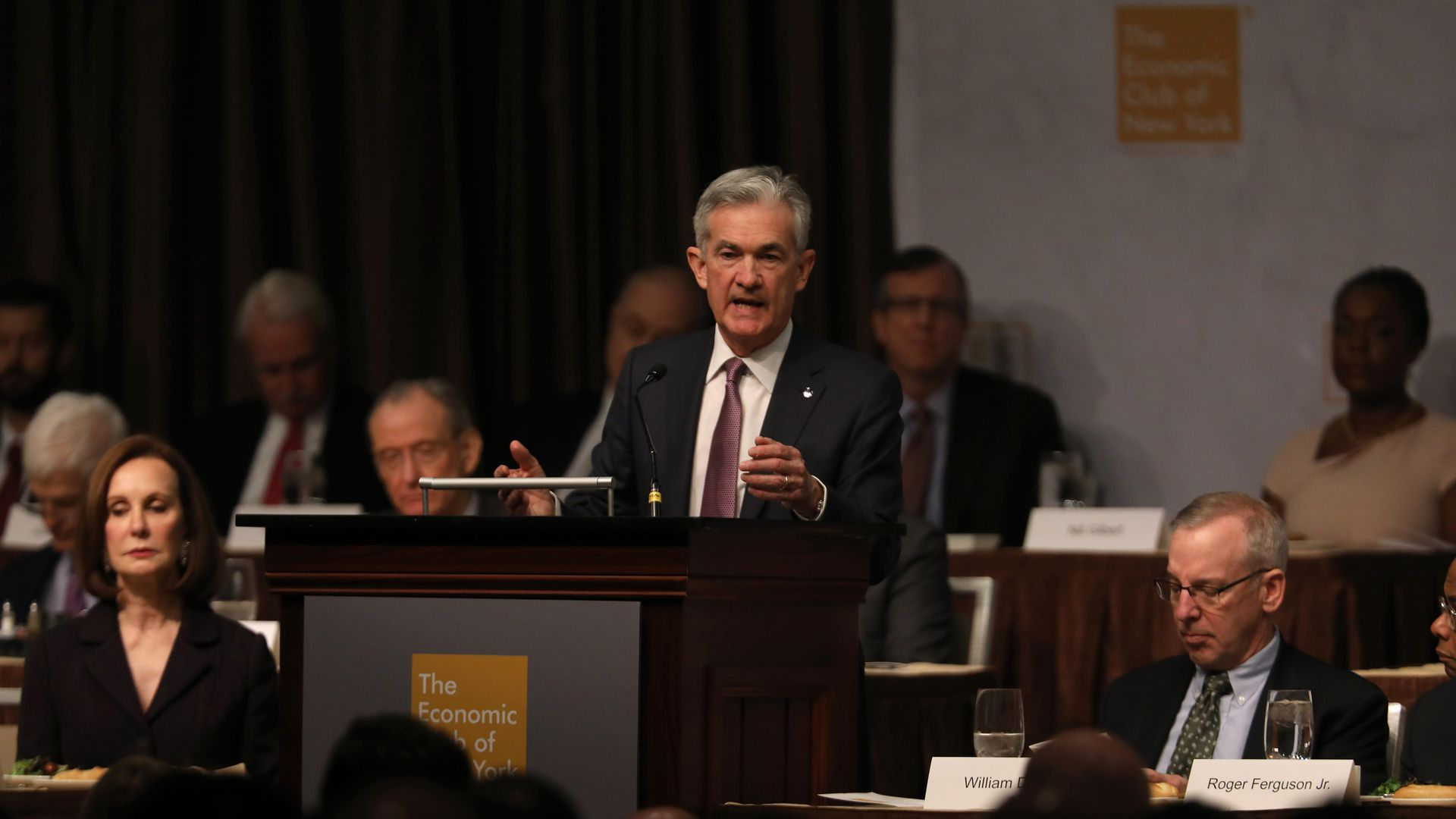 NEW YORK, NEW YORK - NOVEMBER 28: Federal Reserve Chairman Jerome Powell speaks at the Economic Club of New York on November 28, 2018 in New York City.