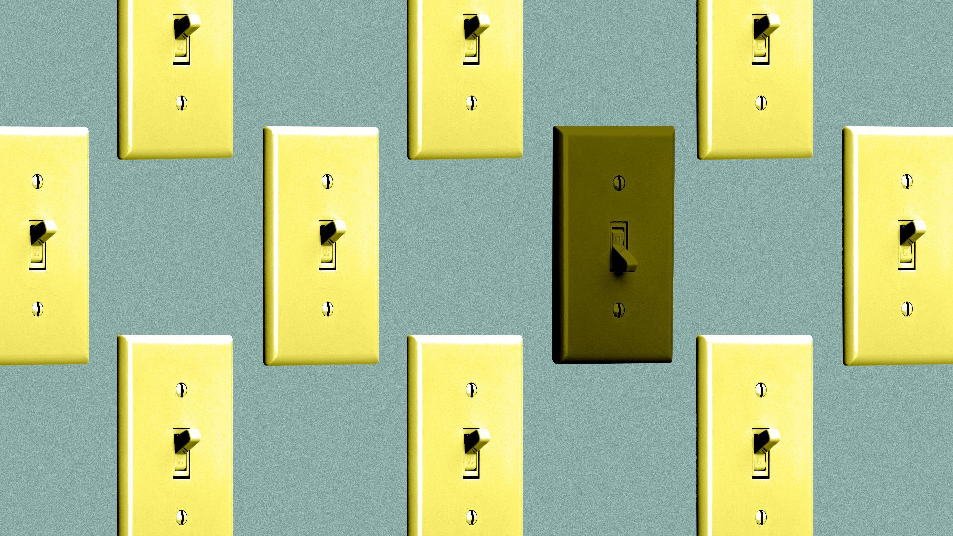 Illustration of a pattern of light switches, all of them turned on except one.
