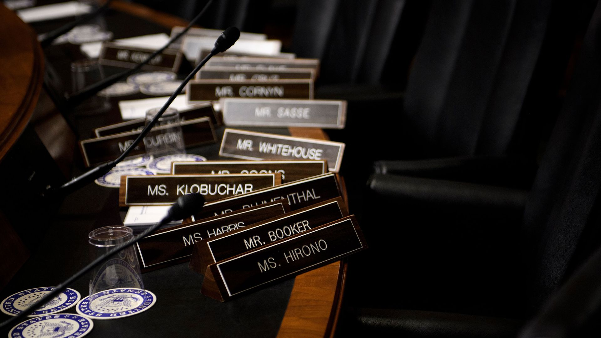 Name plates are seen as the Senate Judiciary Committee's room on Capitol Hill during preparations one day before the hearing with Blasey Ford and Supreme Court nominee Judge Brett Kavanaugh.