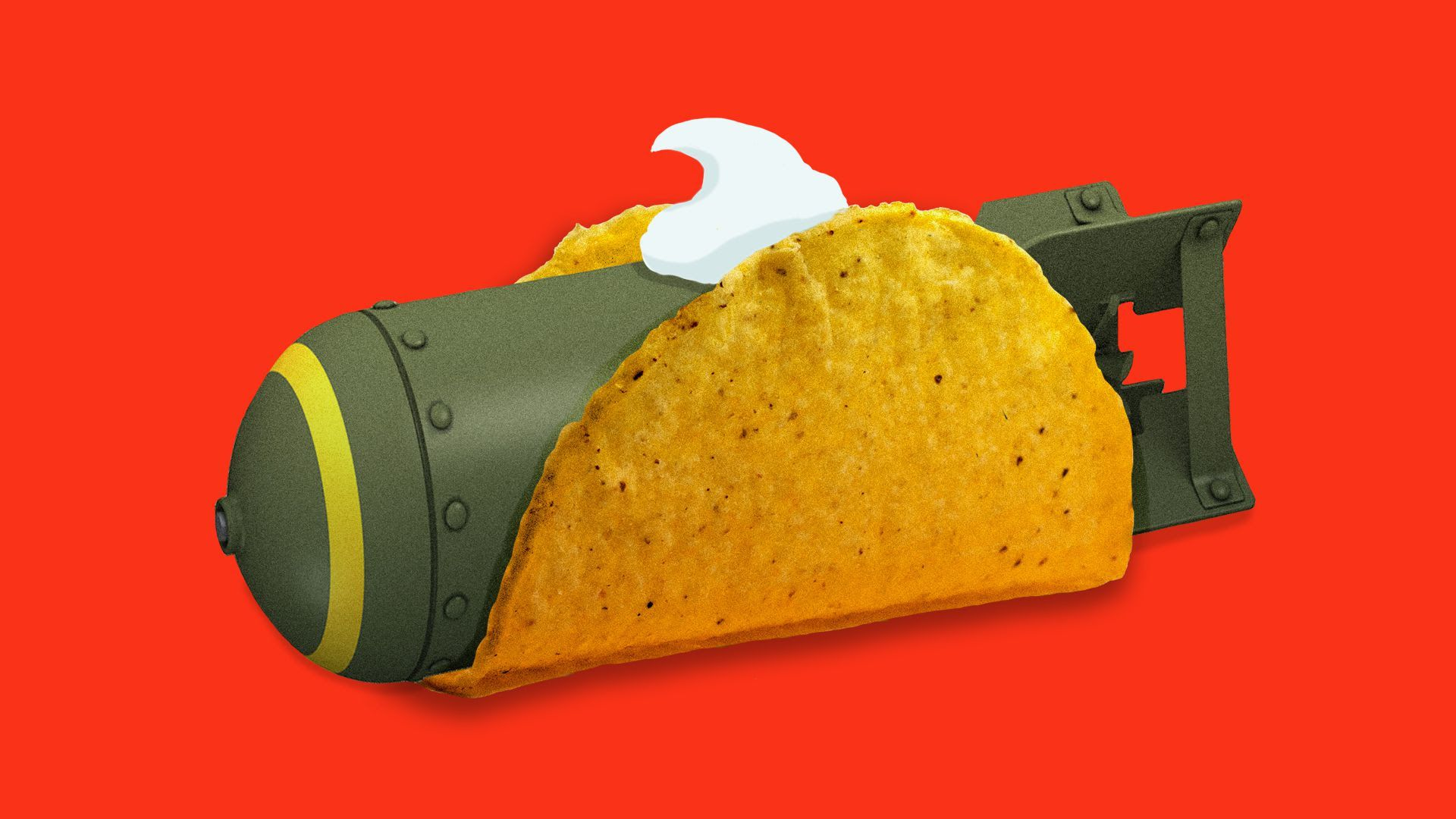 An illustration of a missile in a taco with sour cream on the top