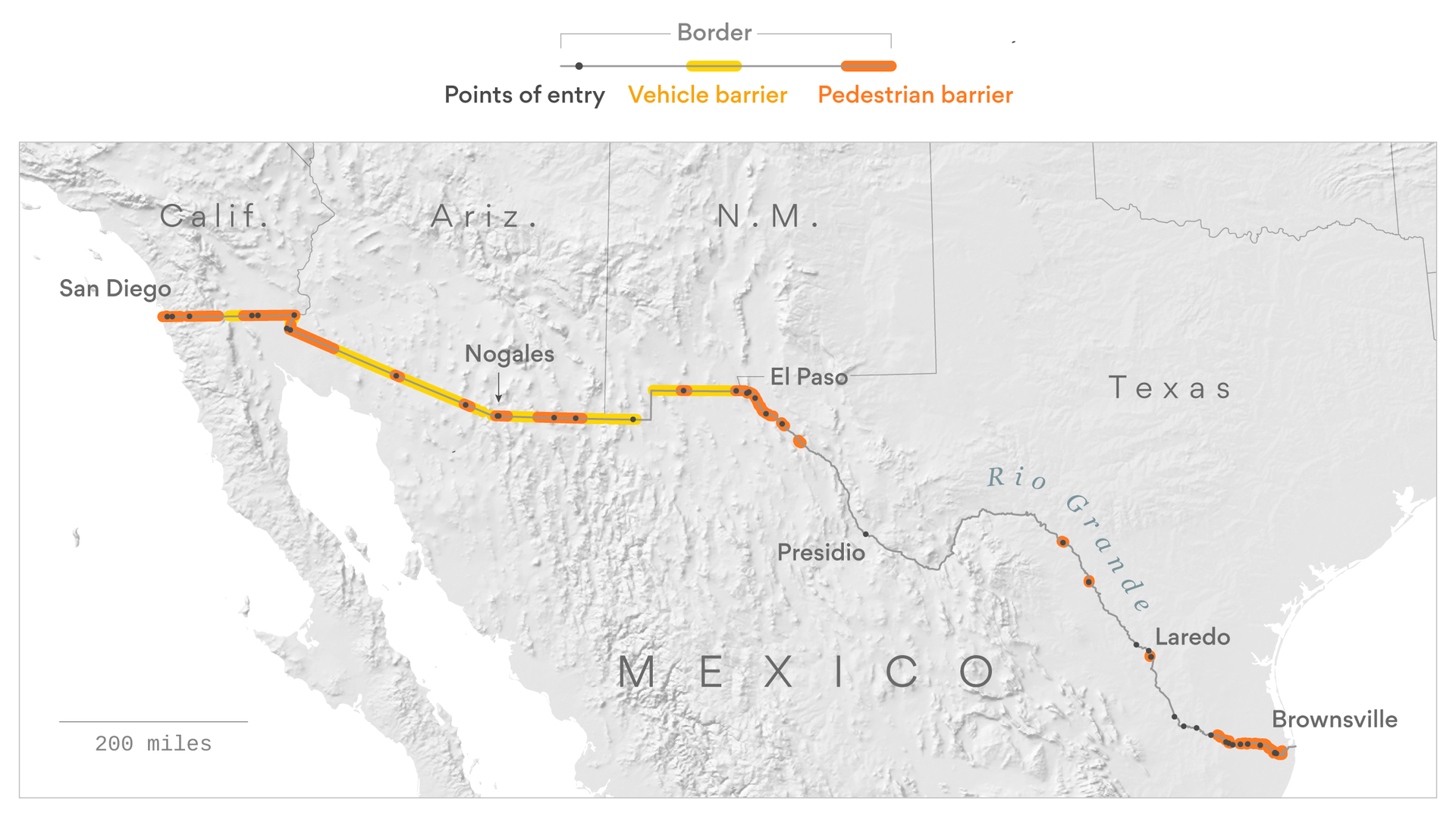 The barriers that already exist along the Mexican border