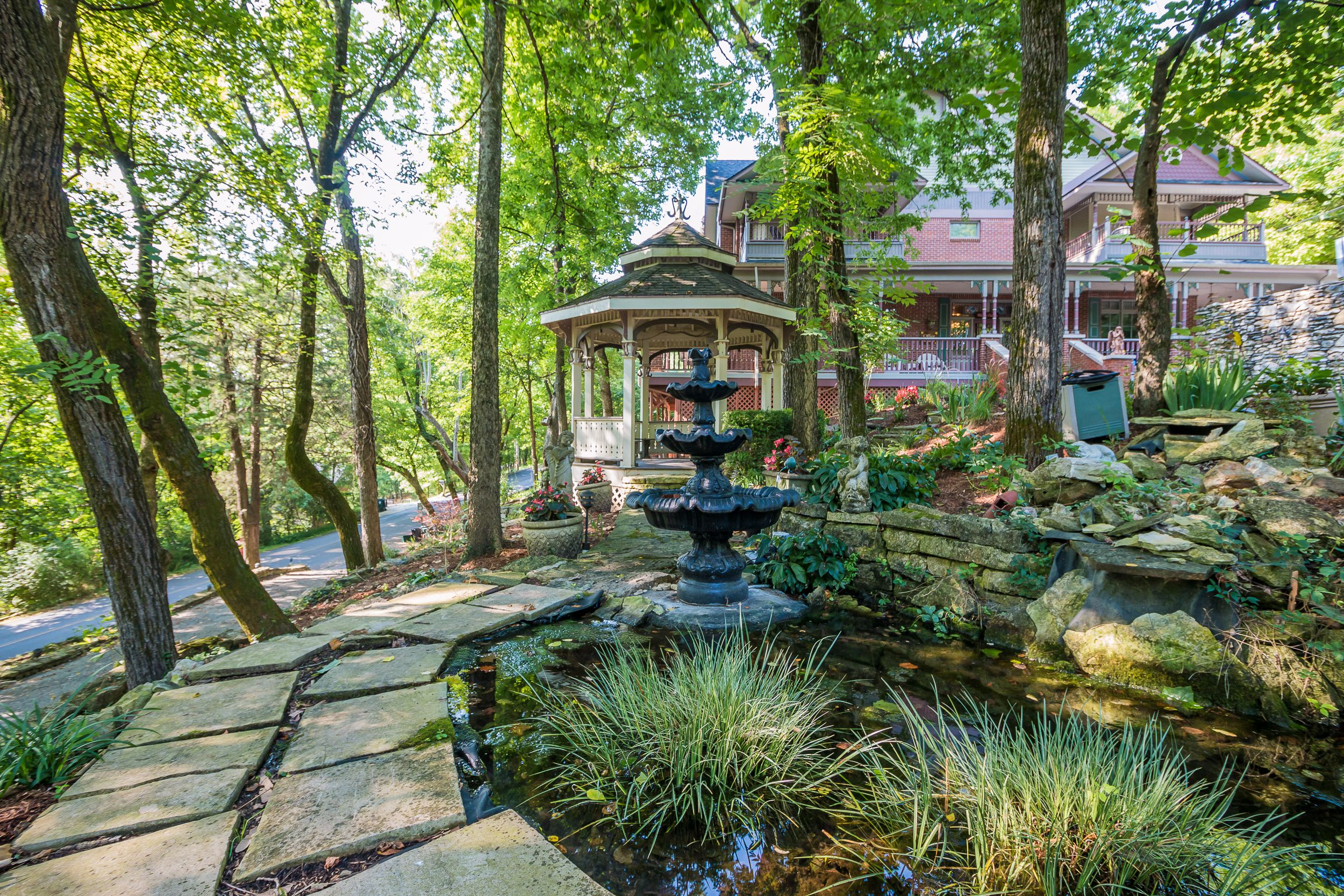 Photo of a gazebo in the garden of a Victorian-style bed and breakfast.