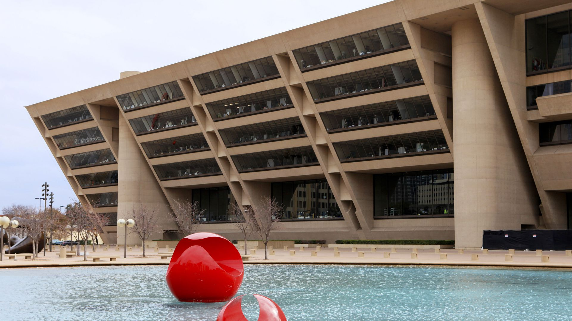 Dallas City Hall and the plaza in front.