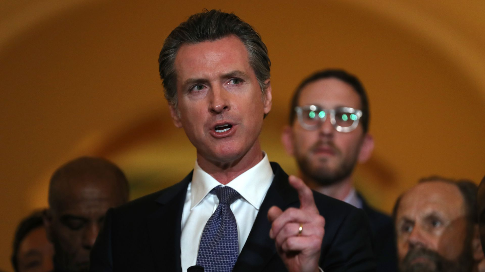 "Gov. Gavin Newsom says he's the ""positive alternative"" to President Trump."
