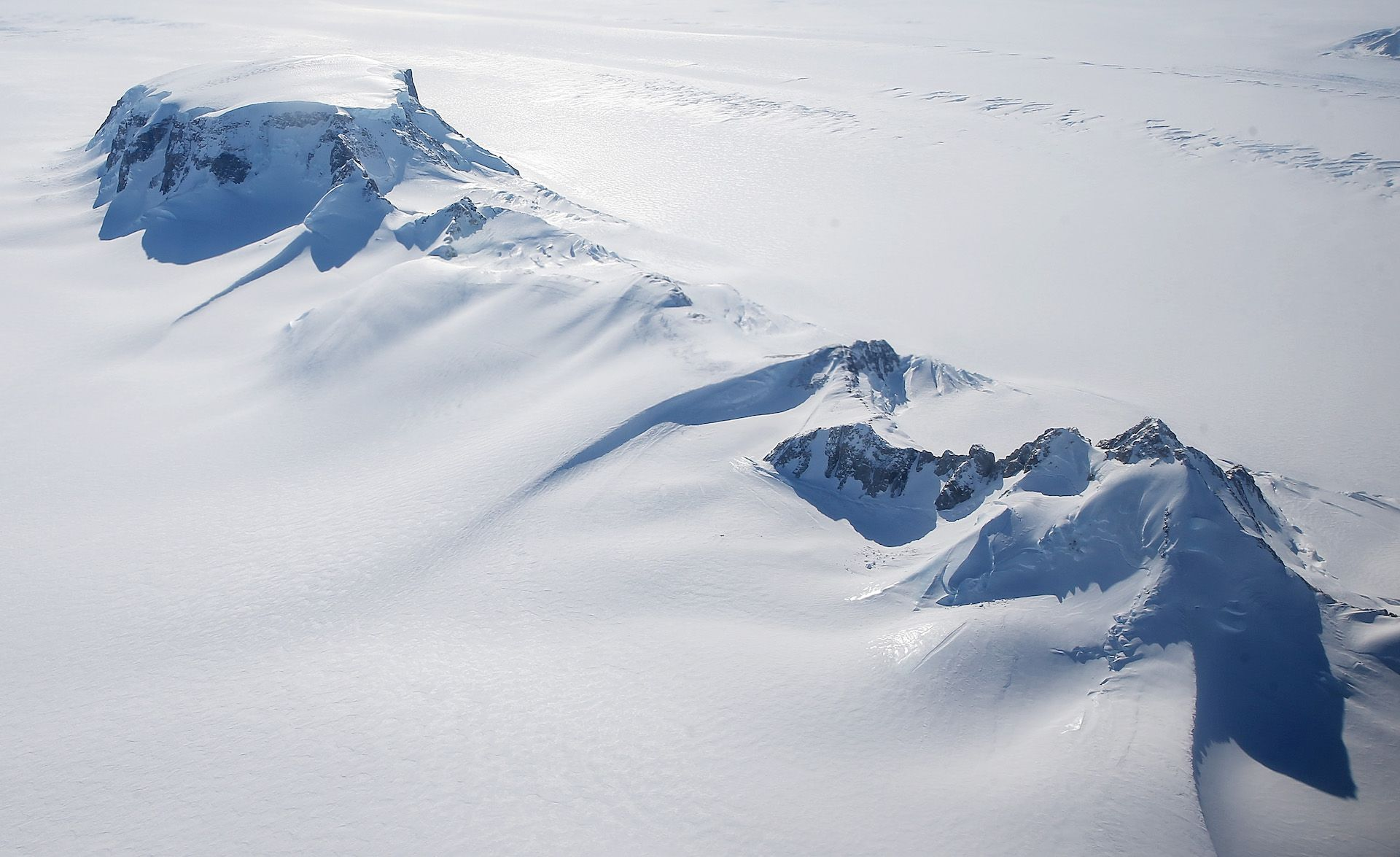 Antarctic ice sheet viewed from the air.