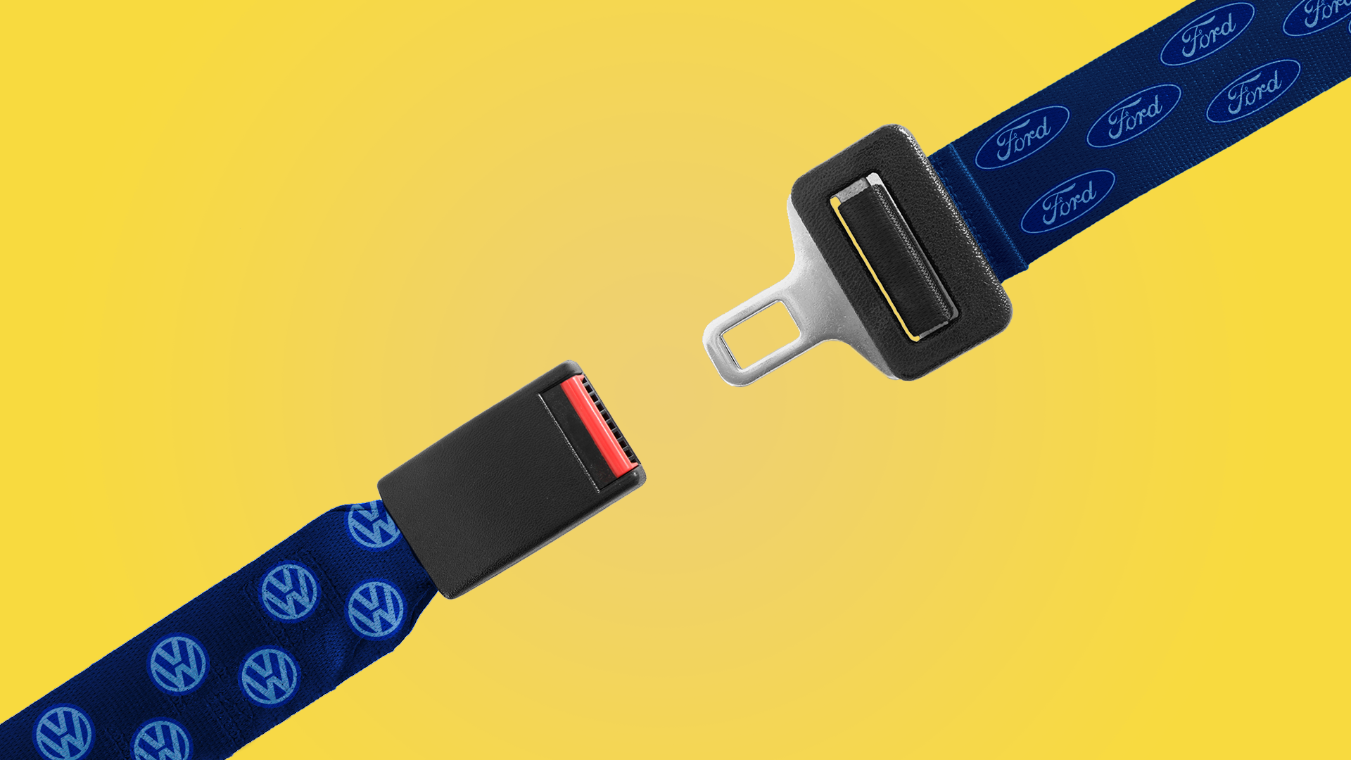 Illustration of a seat belt coming together with one part of the belt covered in a Ford logo pattern and the other in a VW logo pattern.
