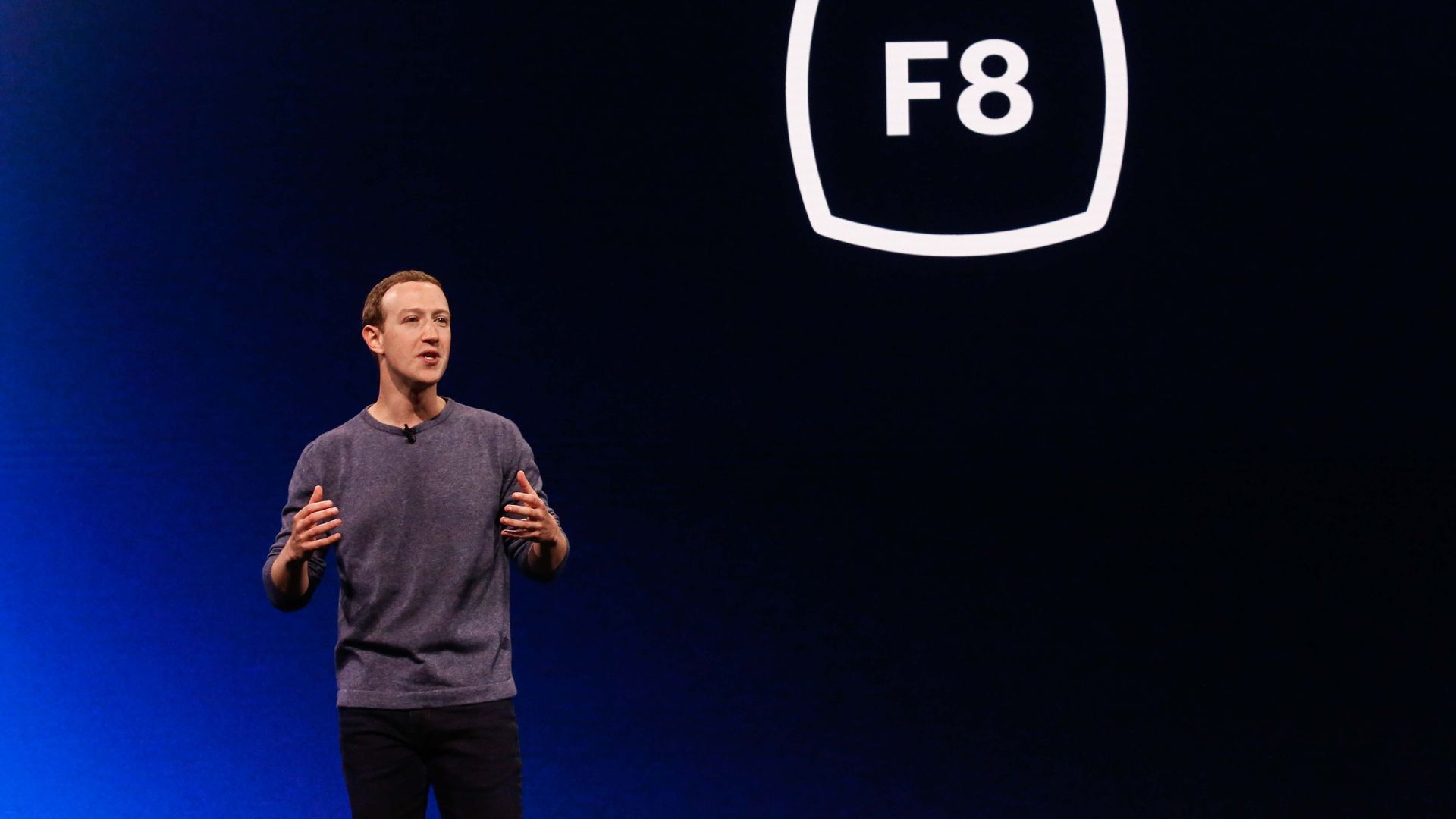 Mark Zuckerberg at a FAcebook conference in APril