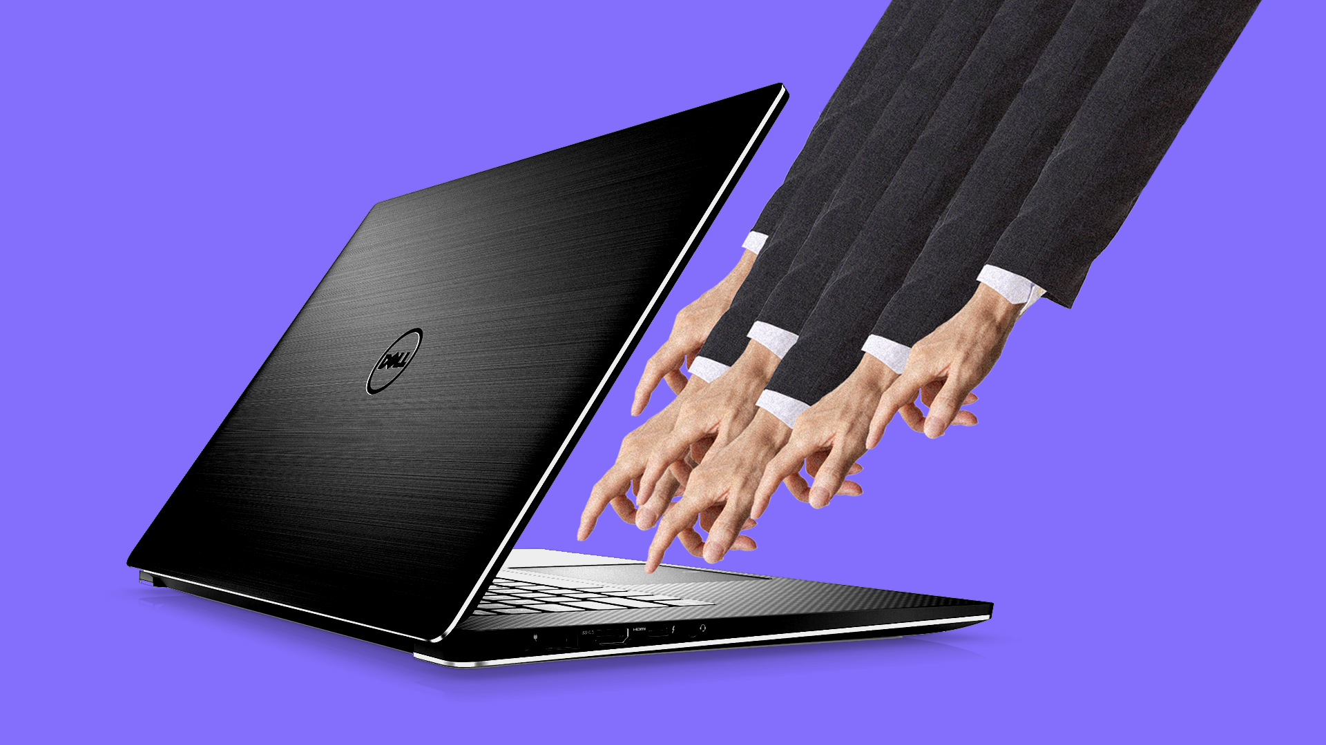 Lots of hands on a Dell laptop