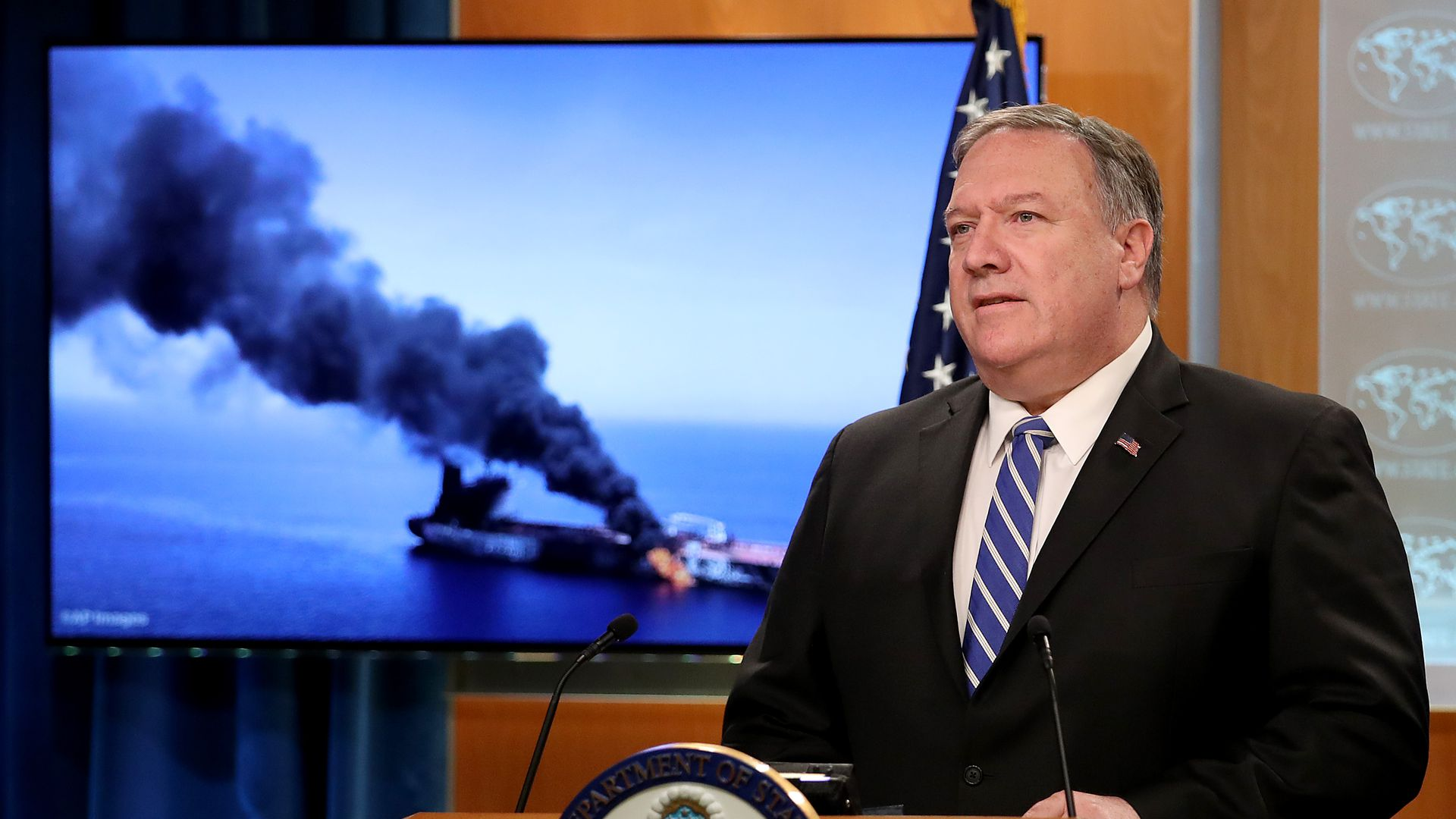 Mike Pompeo at a press briefing