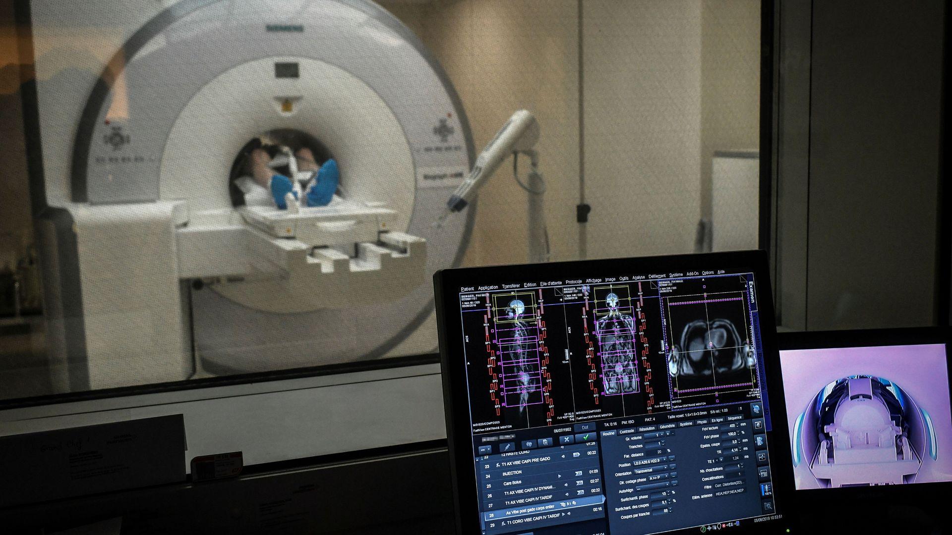 A patient receiving an MRI scan