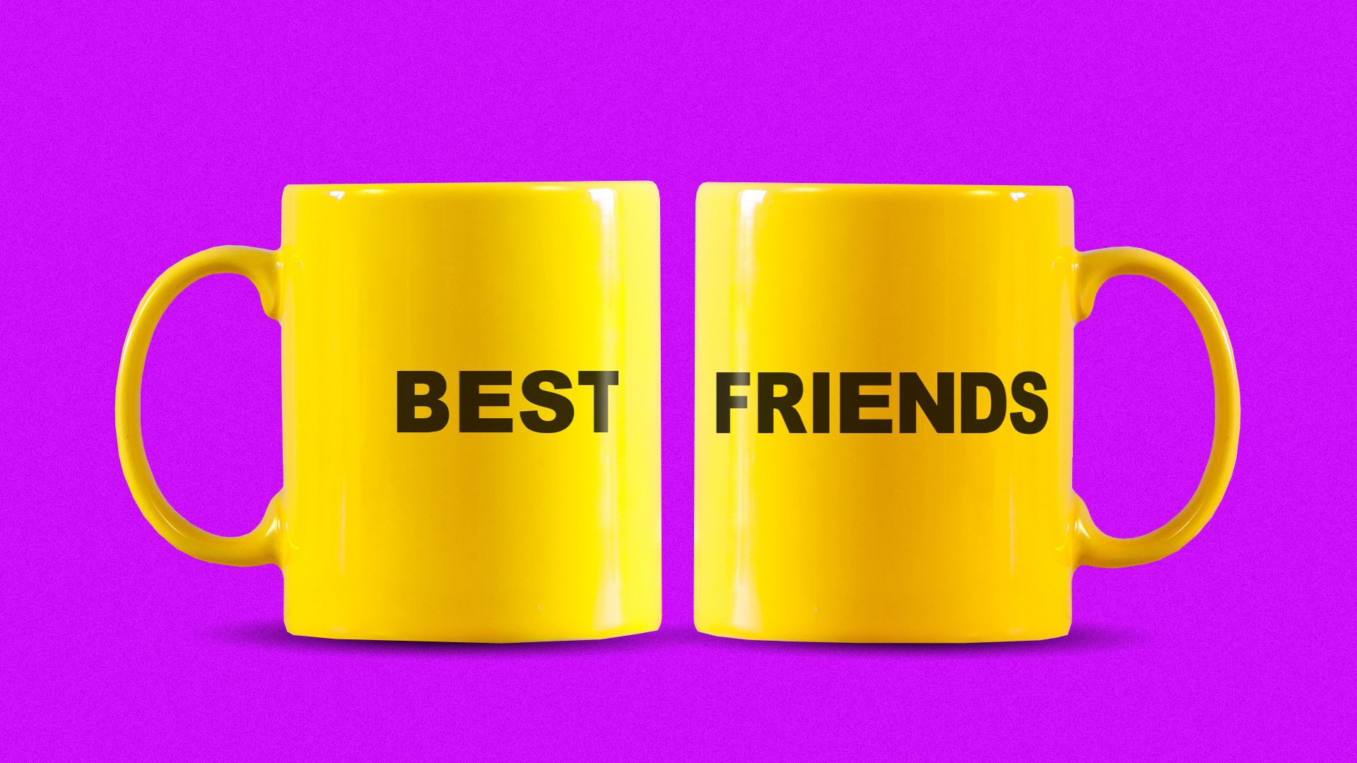 """Illustration of two mugs, one with the word """"best"""" and the other with the word """"friends"""" on their sides"""