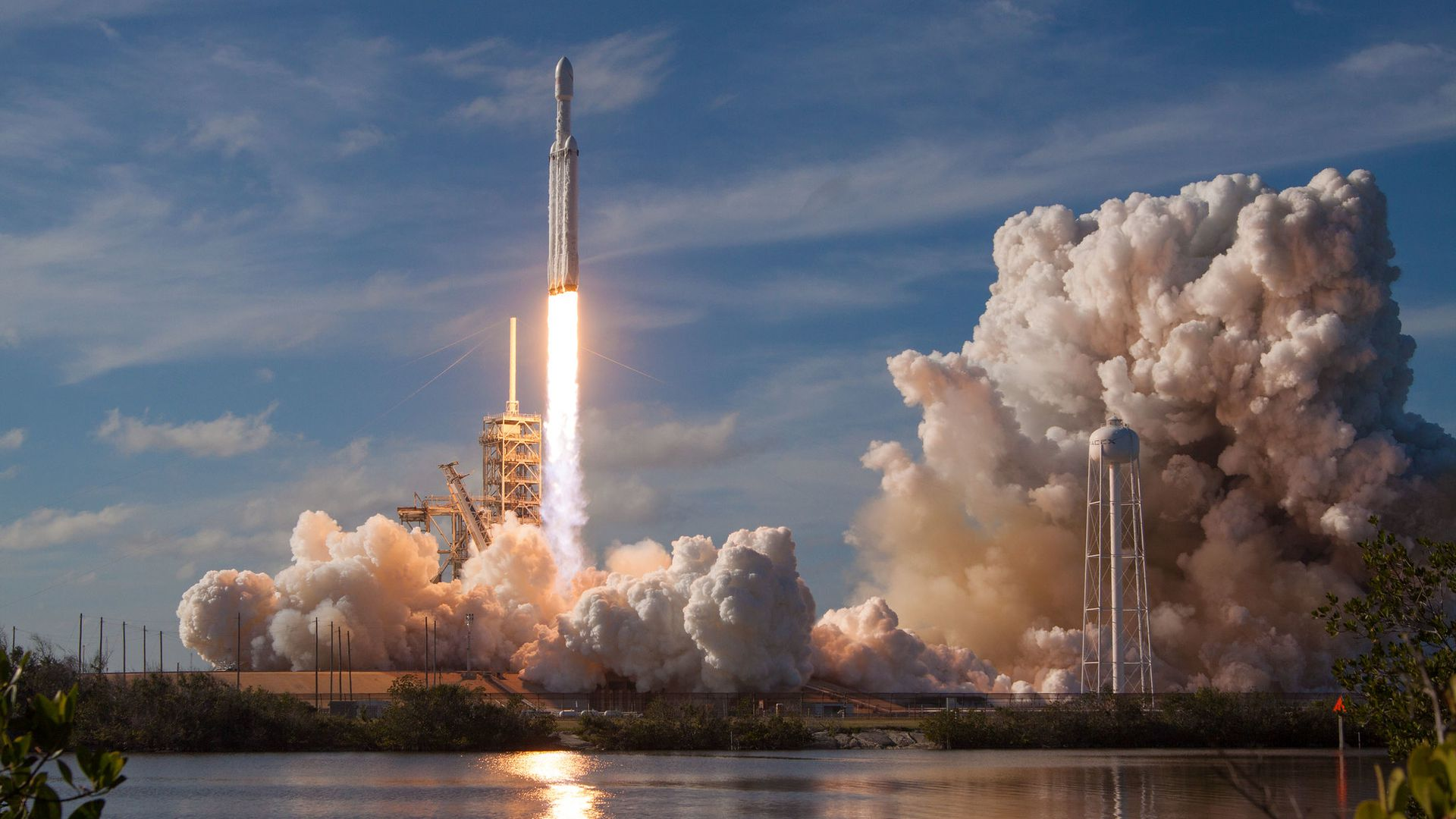 Falcon Heavy rocket launches from Cape Canaveral on Feb. 6, 2018.