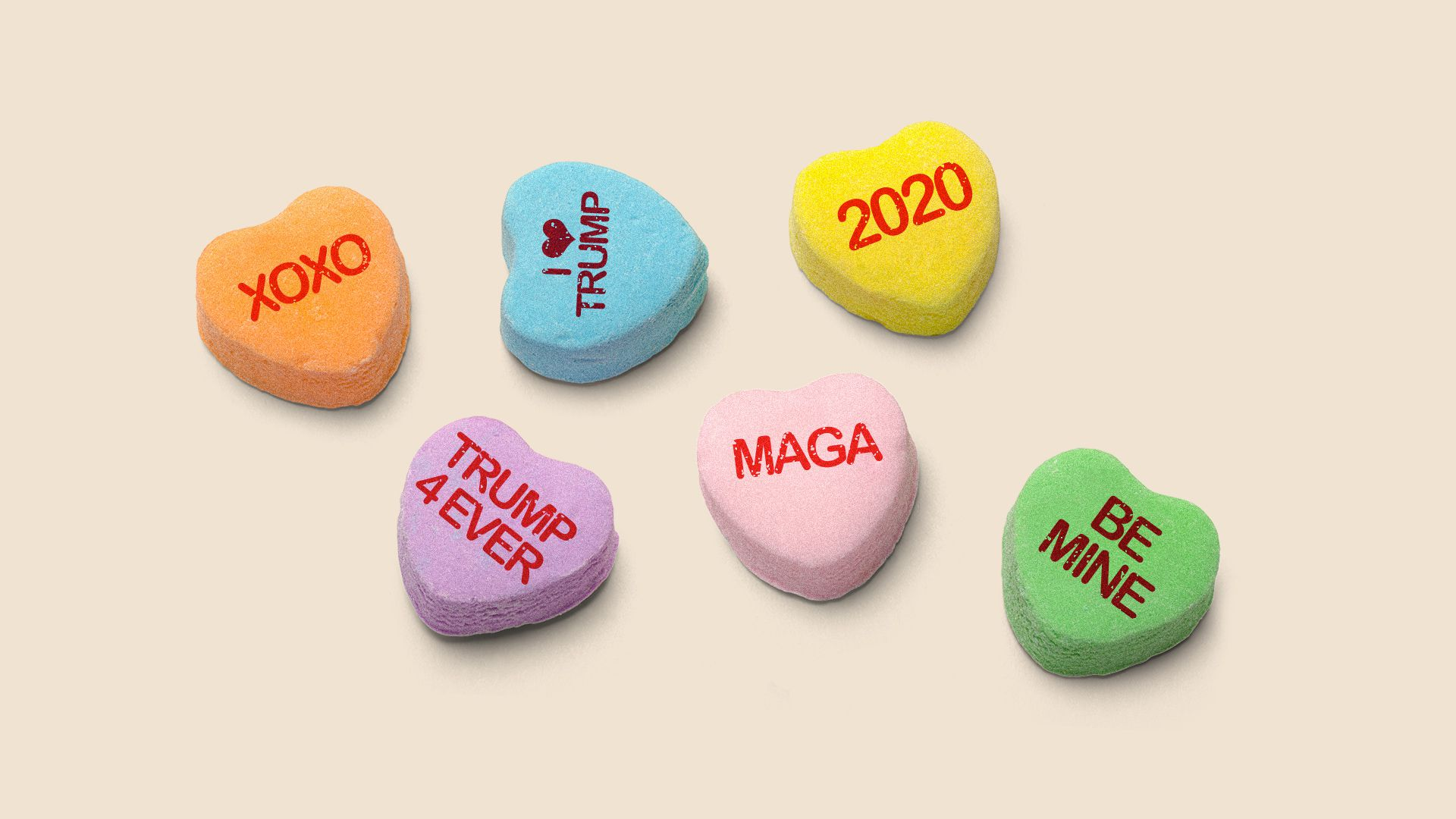 Illustration of valentines heart candies with messages written on them, like TRUMP 4 EVER, MAGA and I HEART TRUMP
