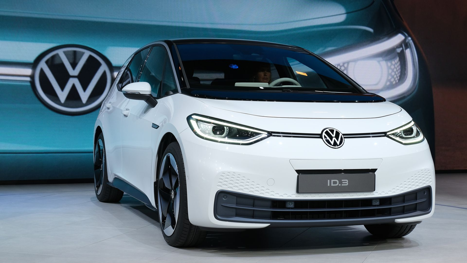 VW's new ID.3 electric car at the Volkswagen media preview at the 2019 IAA Frankfurt Auto Show on September 09, 2019.