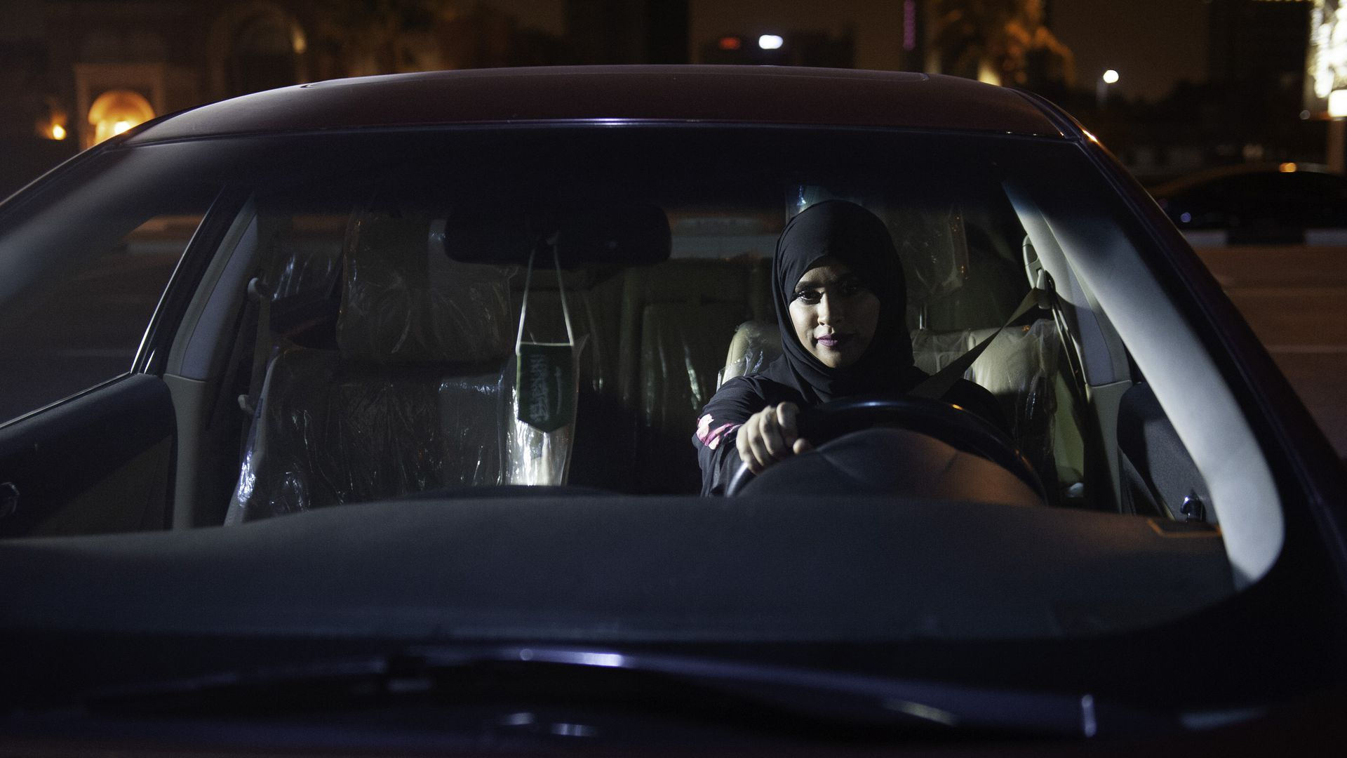 Saudi Arabian woman driving.