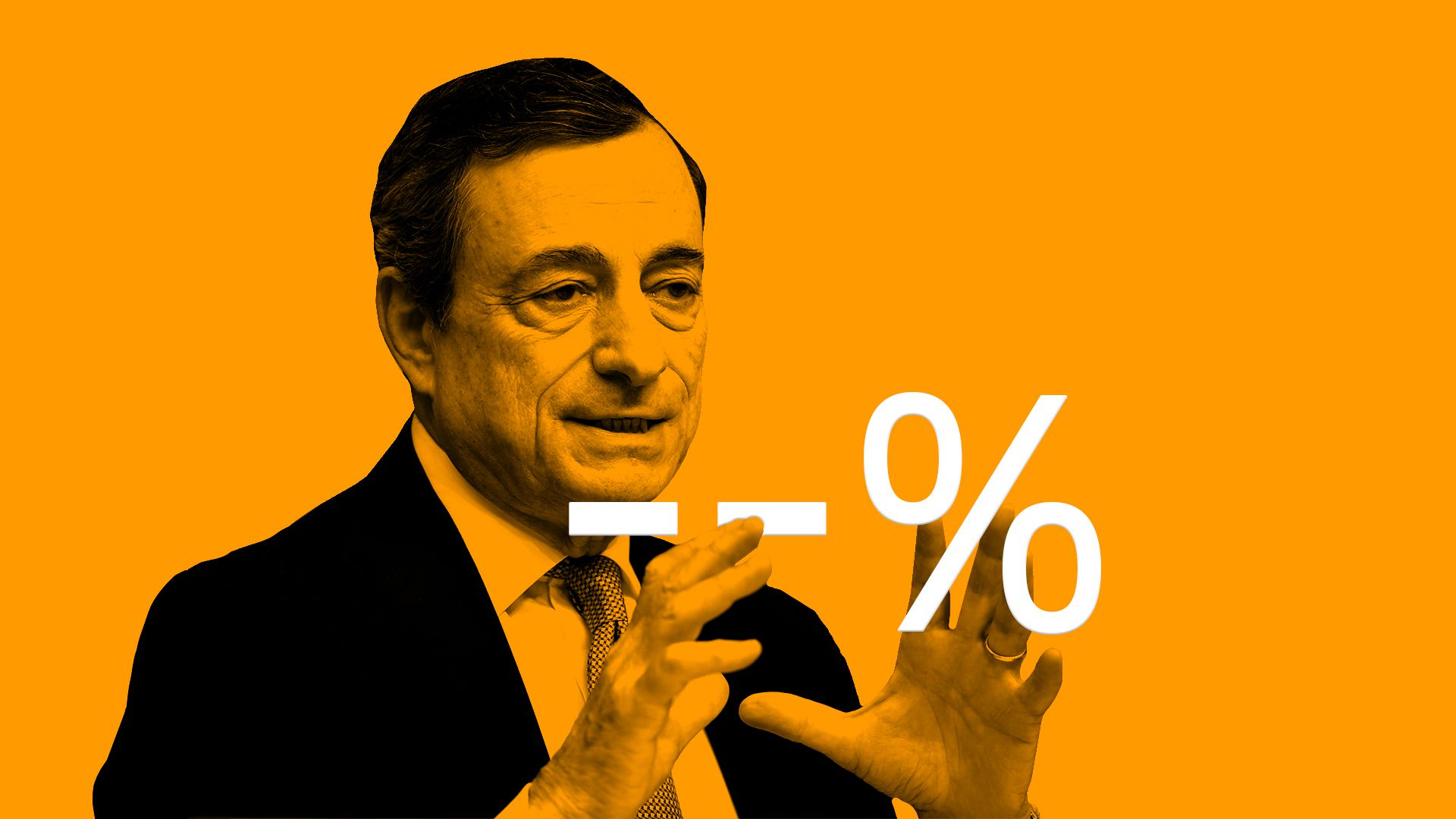 Illustration of Mario Draghi with an interest sign with two negatives.
