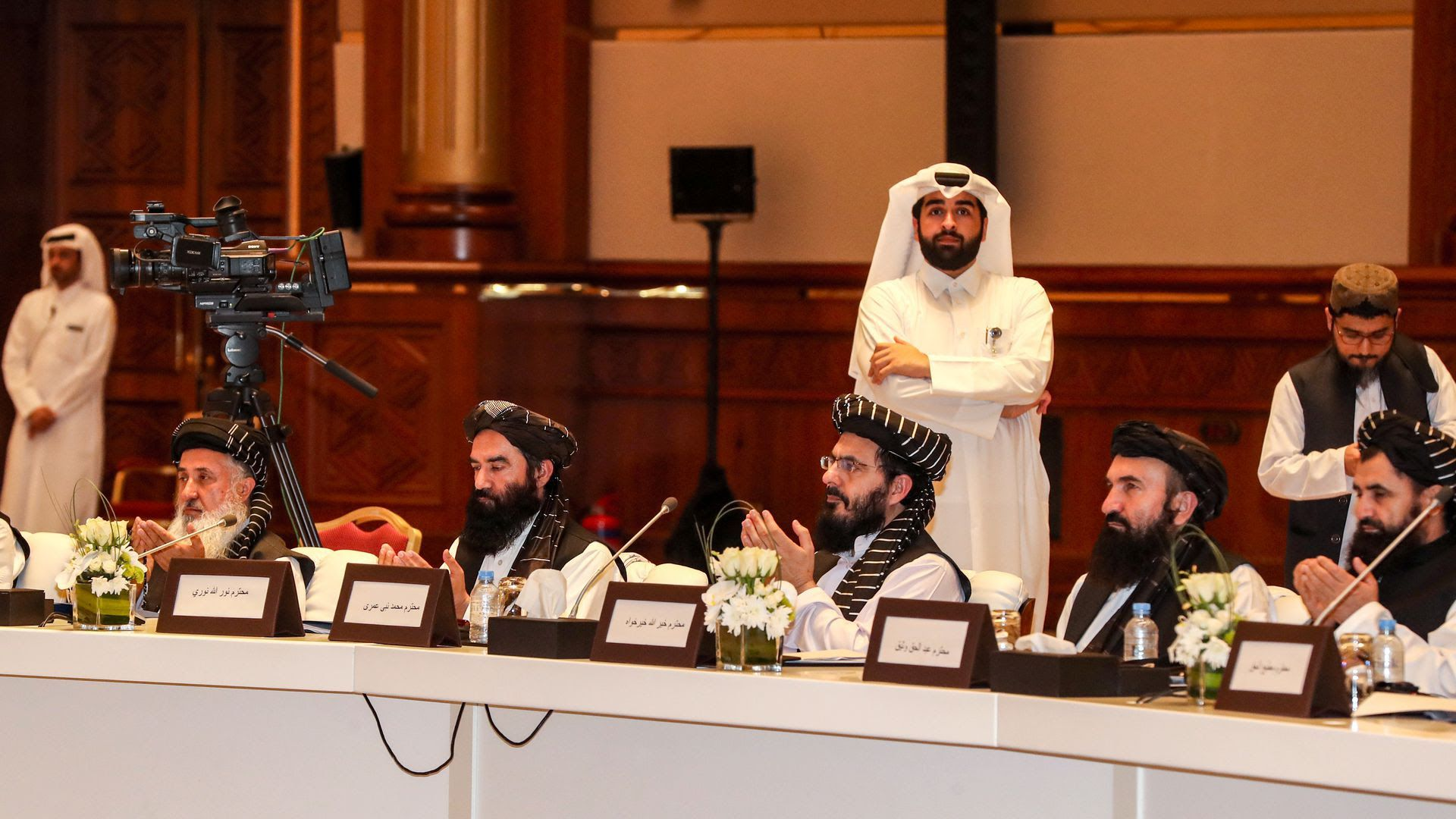 Taliban leaders during peace talks with the U.S. in July in Qatar. Photo: Karim Jaafar/AFP/Getty Images