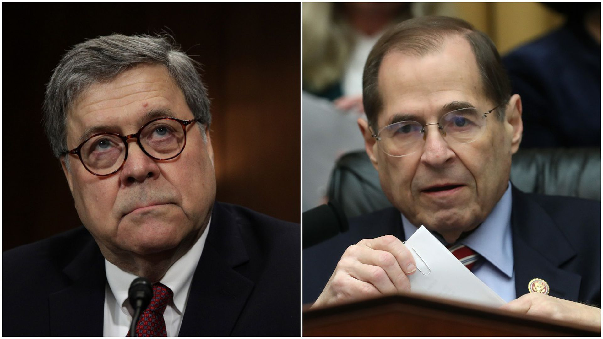 This image is a split screen between Attorney General Bill Barr and Jerry Nadler.