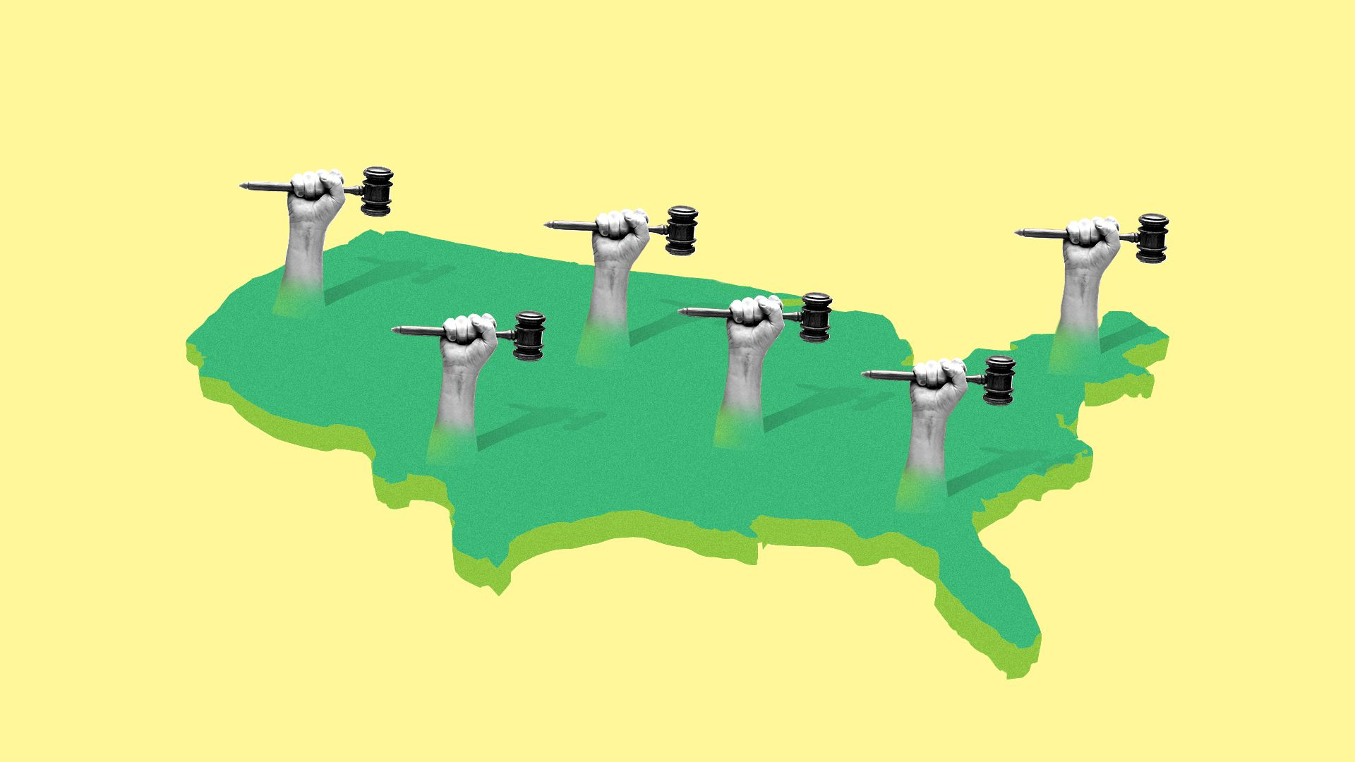 An illustration with a yellow background a a green U.S. map with fists holding gavels sticking out of the map.