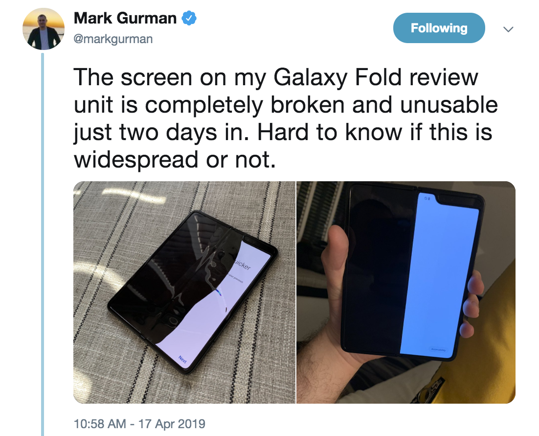 A tweet from Bloomberg reporter Mark Gurman detailing the broken screen on his Samsung Galaxy Fold