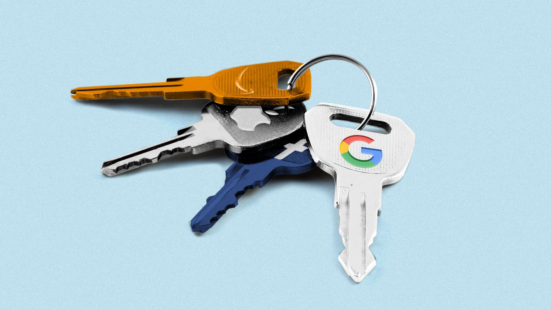 Illustration of keys with the logos of Apple, Facebook, Google and Amazon