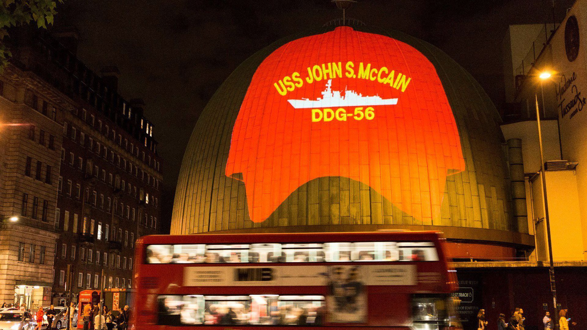 U.K. protests Trump's visit with USS John McCain projection on Madame Tussaud's