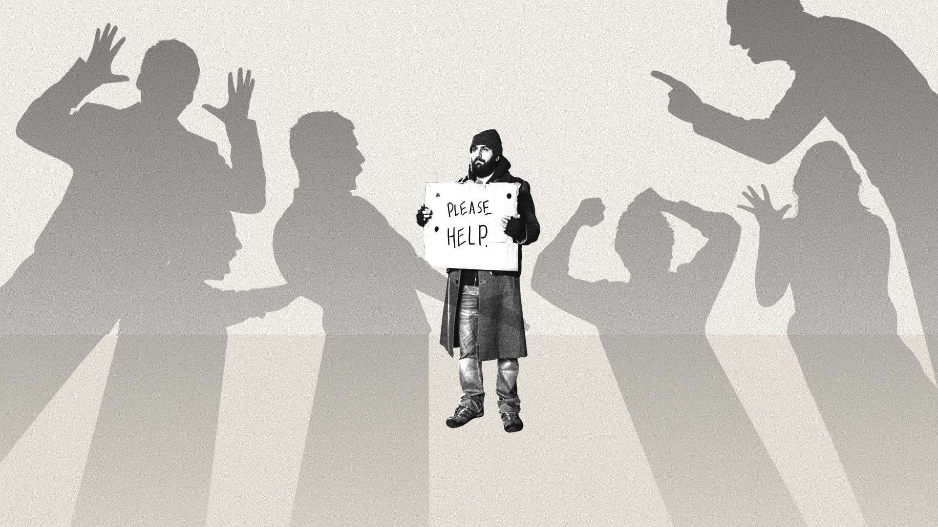 An illustration of shadows pointing fingers and struggling to deal with a homeless person