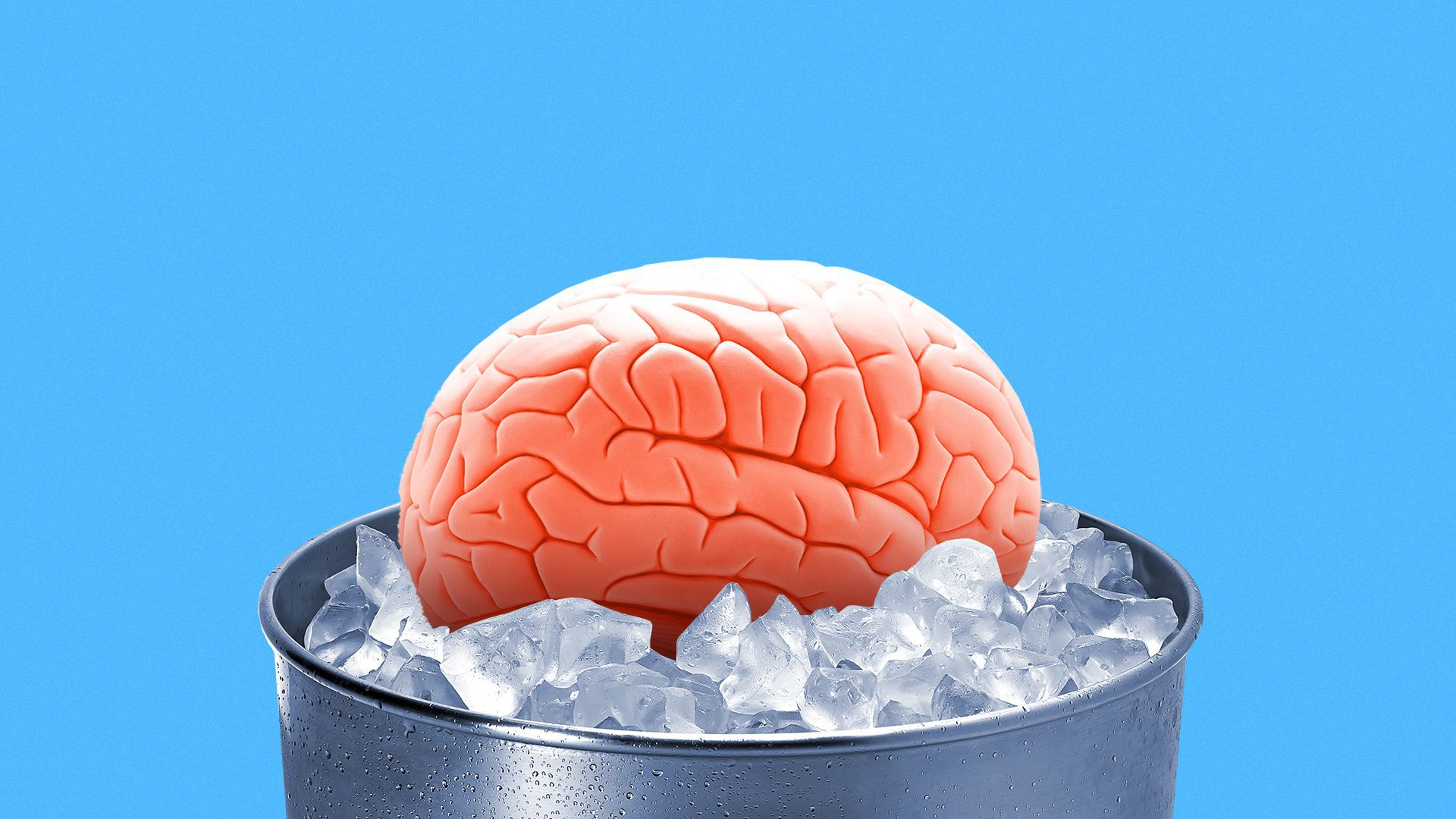 Illustration of a brain in an ice bucket