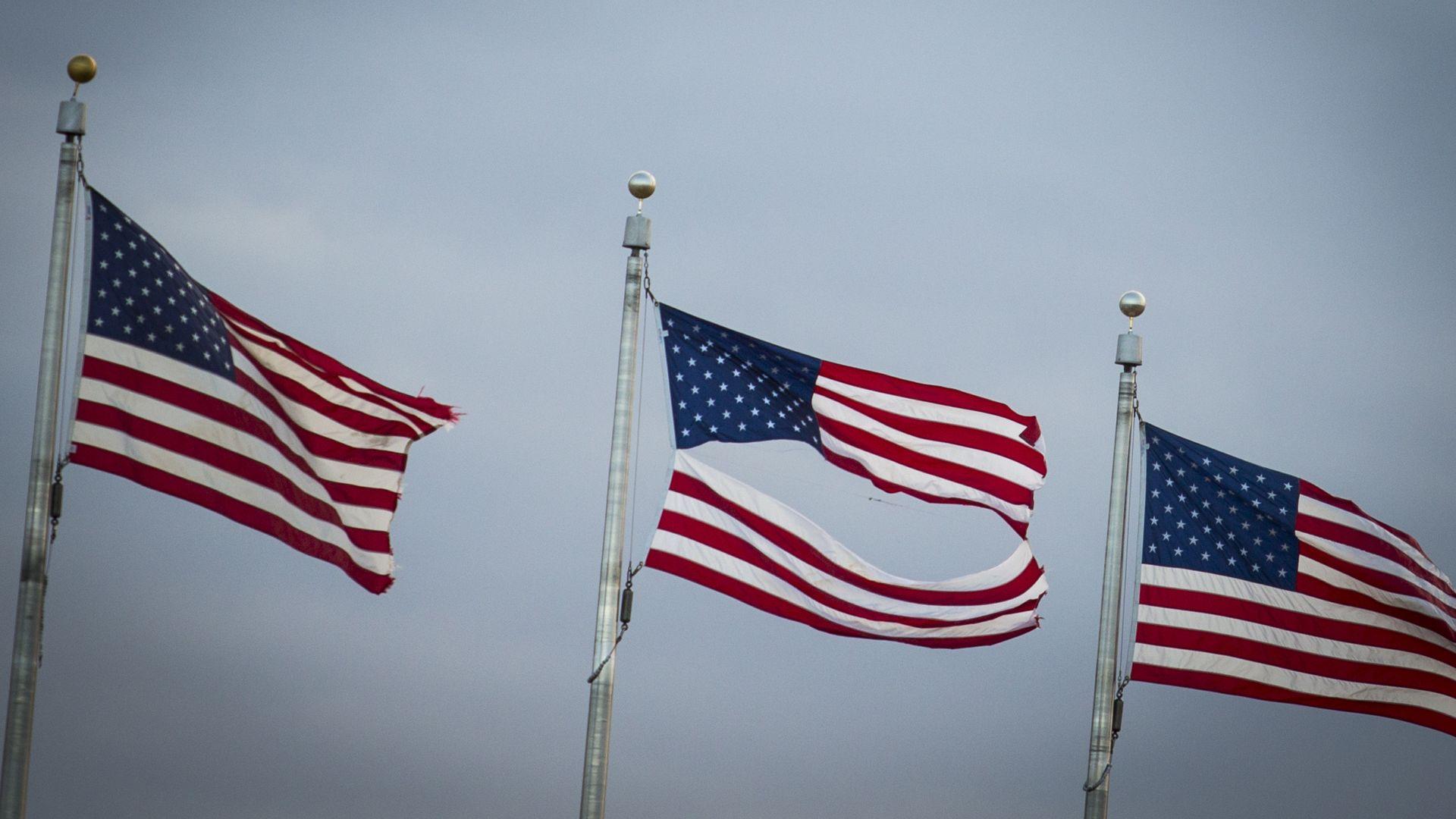 A torn American flag.