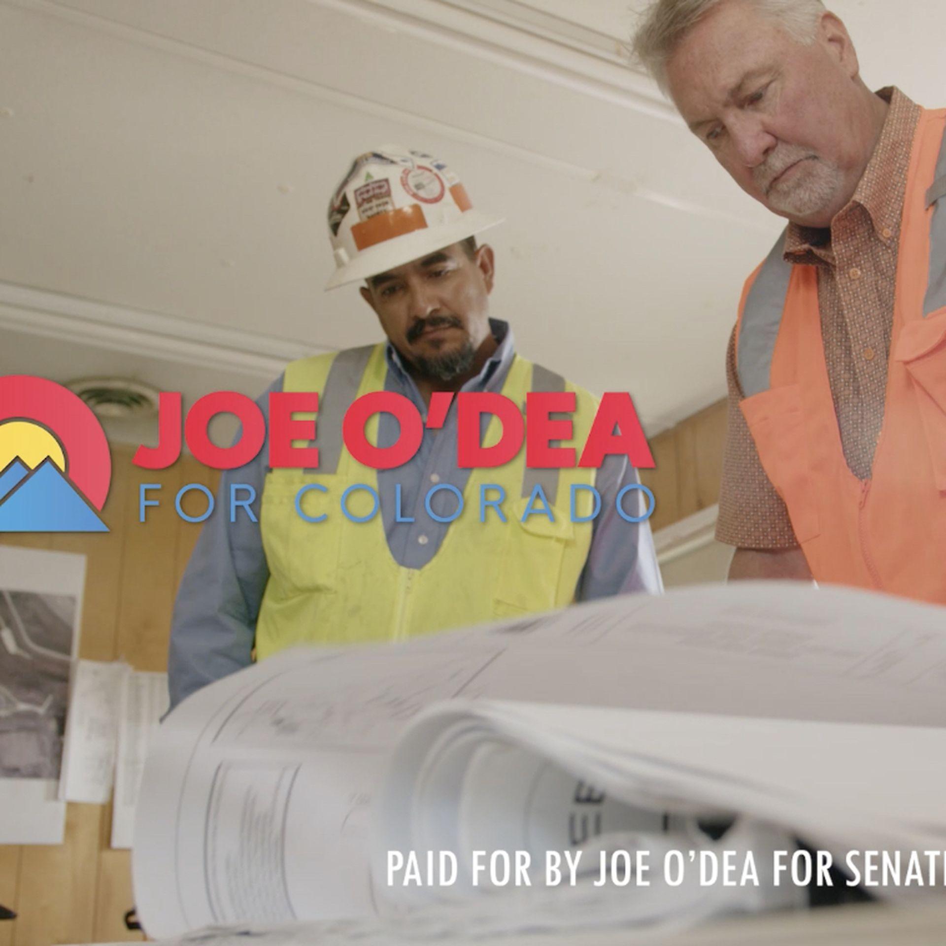 A screenshot from Joe O'Dea's first TV ad in the U.S. Senate race.