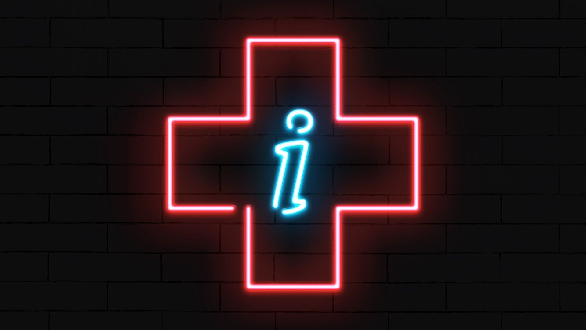 "Illustration of a neon sign in the shape of a health plus with an information ""i"" in the center."